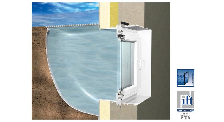 Zargenfenster mealuxit aqua mit wechselzarge und fenstereinsatz kellerlichtschacht shop rotec - Fenster mit lichtschacht ...